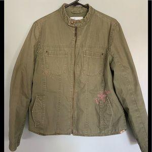 Levi Strauss Girls Juniors Full Zip Green Lined Jacket Size XL Green